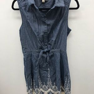 Denim White Lace - Fit and Flare Sundress